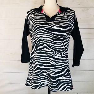 CHAPS Zebra Print Thermal Hoodie Size Small